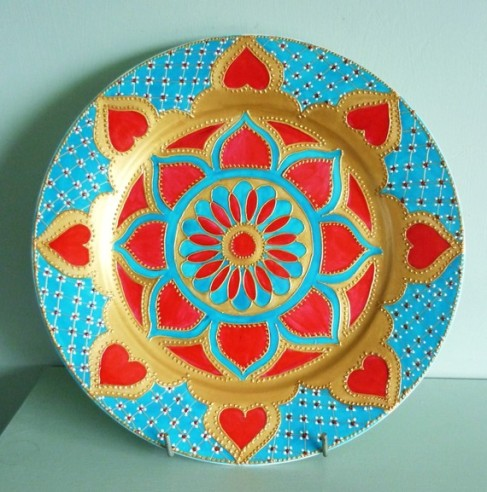 Turquoise Delight Hand Painted Mandala plate